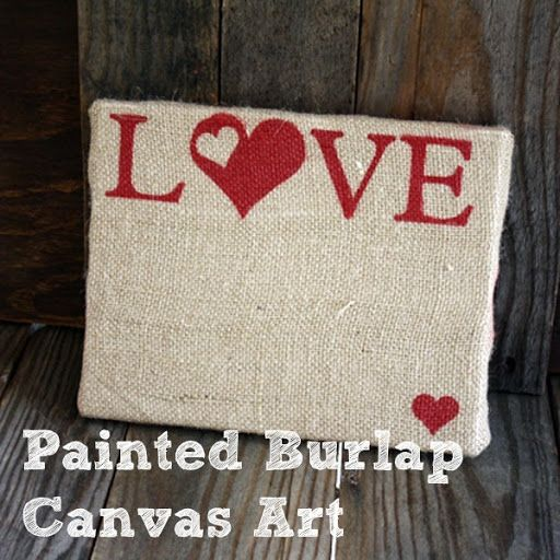 How about painting burlap over a canvas?  from Poofy Cheeks.