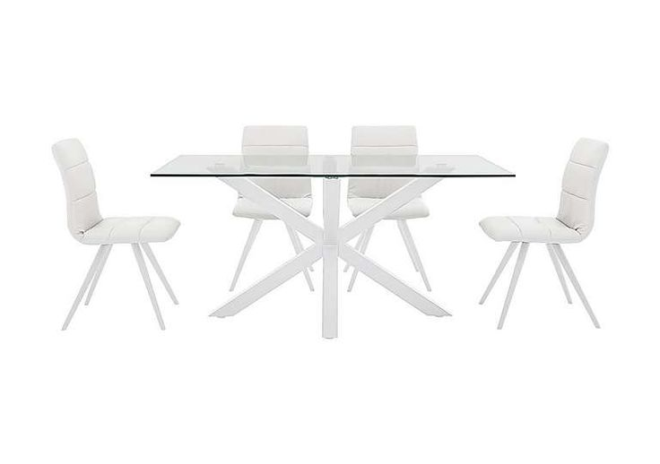 Evoque 160cm Dining Table and 4 Prism Chairs