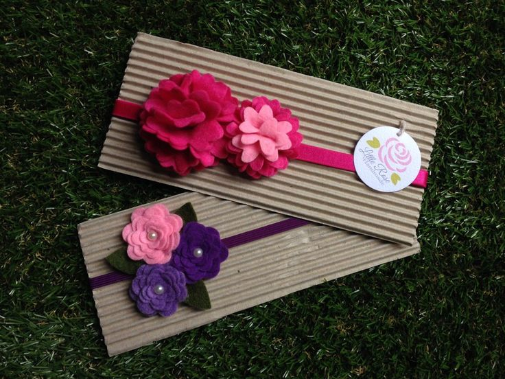 Set 2 fasce elastiche per capelli in tono fucsia, rosa e viola by Little Rose Handmade, by Romanticards e Little Rose Handmade, 12,00 € su misshobby.com