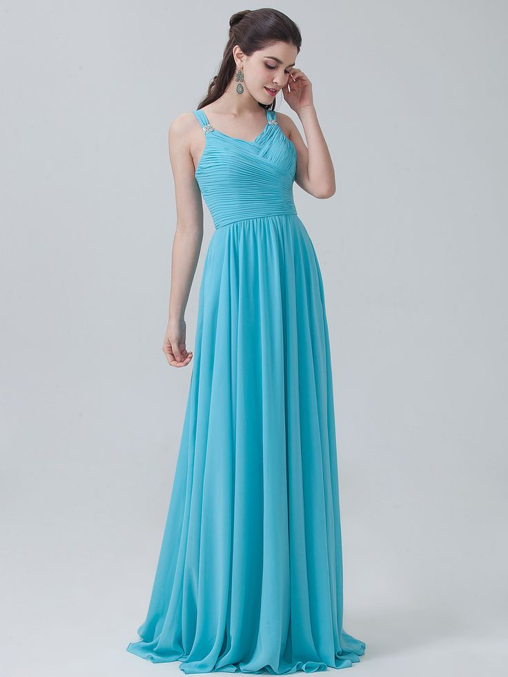 Pleated Chiffon Long Dress Color Pool Blue Fabric