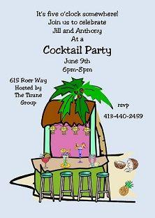 tiki hut bar cocktail invites