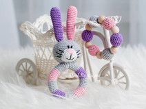 SALE Bunny Baby Toy Rattle Baby teether Set of 2