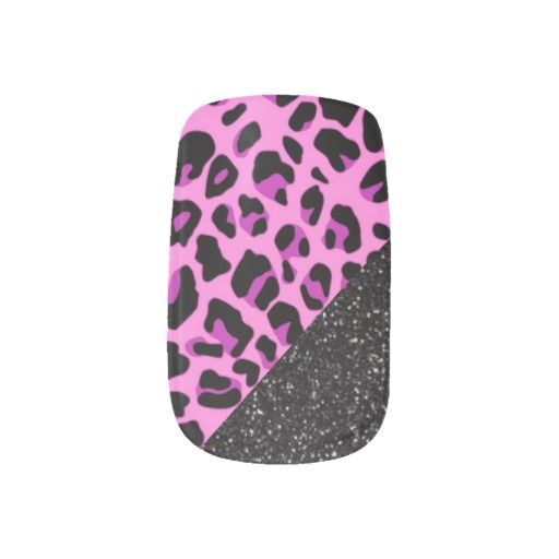 Pink Leopard and Black Glitters Nails Art by Elena Indolfi at #Zazzle