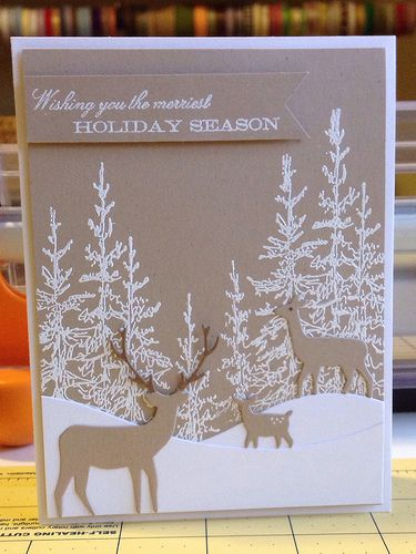 kraft cardstock, Memory Box Deer family dies. Trees stamped and embossed in white. Snowdrift die from Die-namics (or make your own). Could be a fairly simple card for multiples providing you prepare all your pieces ahead of time.