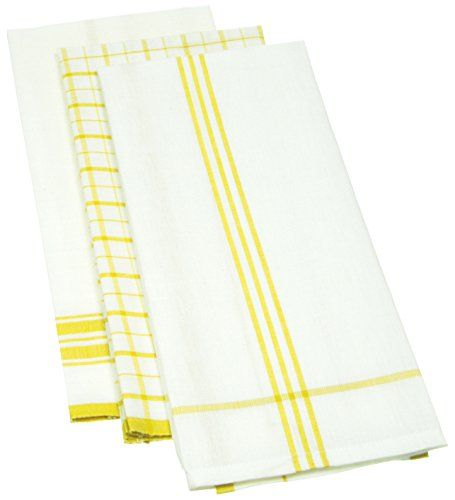 Mahogany Linen Blend Kitchen Towel, 18 By 28 Inch, Yellow, Set Of