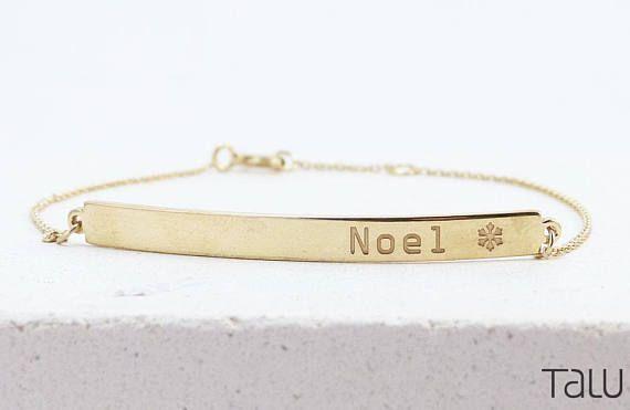 Noel Gold Bar Gold Engraved Bar Custom Jewelry Gold Bar