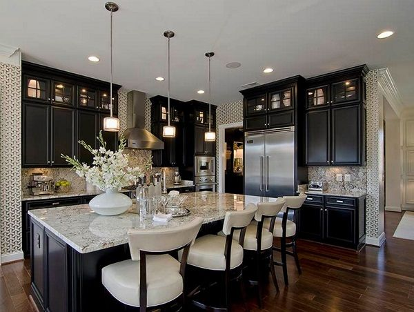 Interesting Luxury Black Kitchens With Cabinets And White Design Ideas