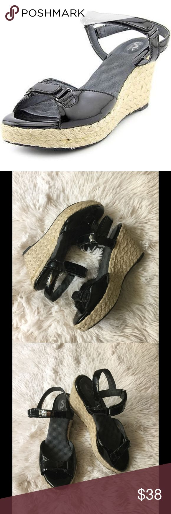 """🌴Soft walk SAN Marino padded leather wedges 🌴 🌴Size - 8  like perfect condition no signs of wear USBrand & Style - Softwalk San MarinoWidth - Medium (B, M)True Color - BlackUpper Material - Patent Leather Outsole Material - Man-MadeHeel Height - 3.5 InchesDescription - SoftWalk shoes invite the women who wear them to """"fall in love"""" with """"the ultimate comfort experience"""". All designs include such innovative features as unique massaging footbeds, additional ball and heel padding…"""