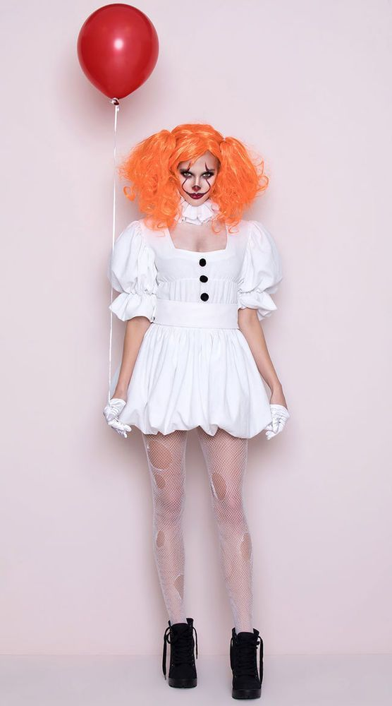 Details about M DANCING SEWER CLOWN COSTUME Costume IT White Dress NEW