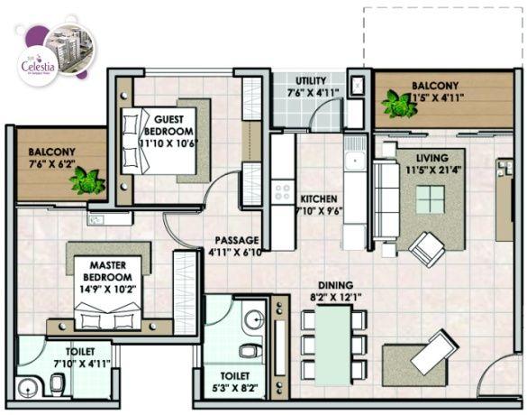 2BHK Floor Plans