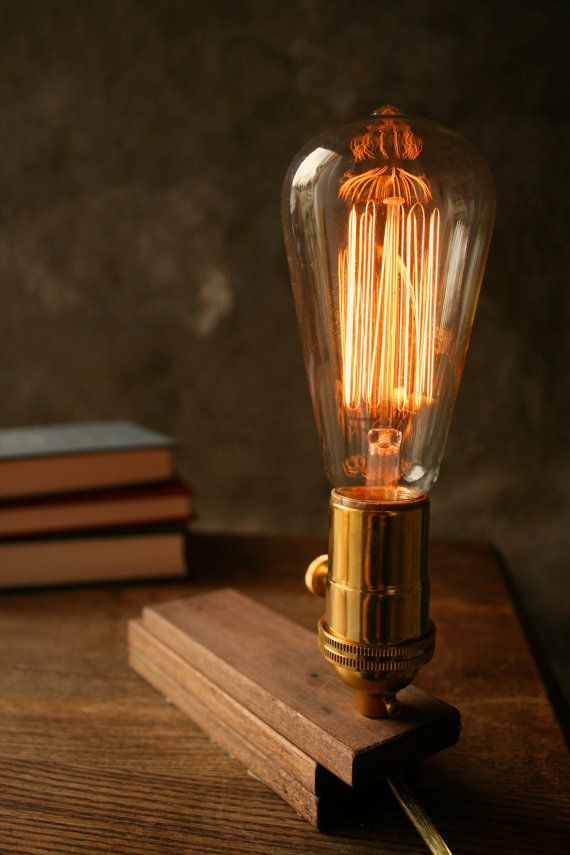 Wood lamp diy book lamp industrial light shabby chic cool gifts for men lighting edison bulb lamp acacia wood and marconi filament bulb