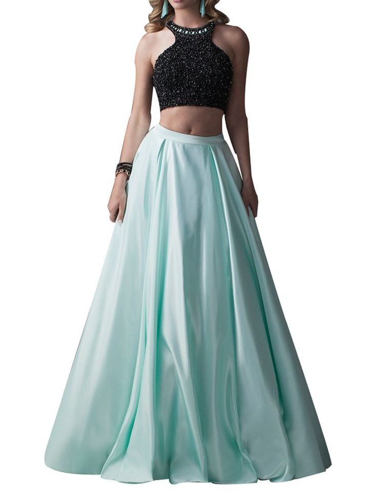 LISA.MOON Women's Jewel Open Back Beading Crystals Two Piece Stain Prom Dress Black Aqua US08. 1.Stain ,Crystals,Beaded. 2.Two Piece,Floor Length,Jewel,Sleeveless,Open Back,A Line,. 3.Made to Order!You can give us your size!(BUST,WAIST,HIP,HOLLOW TO FLOOR)When getting your order,we will contact you to make sure you have chosen the right measurements.If no reply,we will do it as our size.Thank you!. 4.The real color of the item may be different from the pictures shown on website caused by...