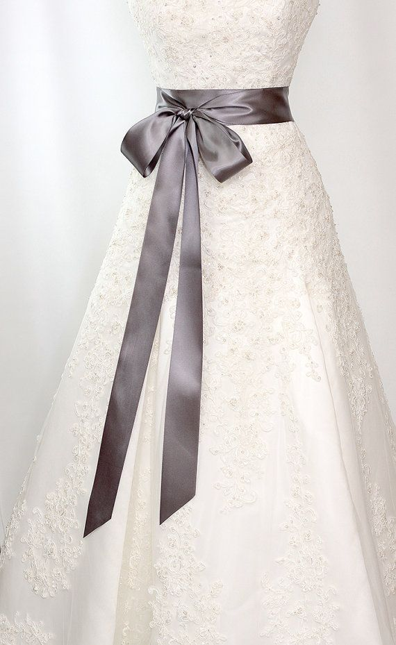 Bridal Sash - Romantic Luxe Satin Ribbon Sash - Wedding Sashes - Deep Graphite Gray - 2.25 in - Bridal Belt on Etsy, $24.00