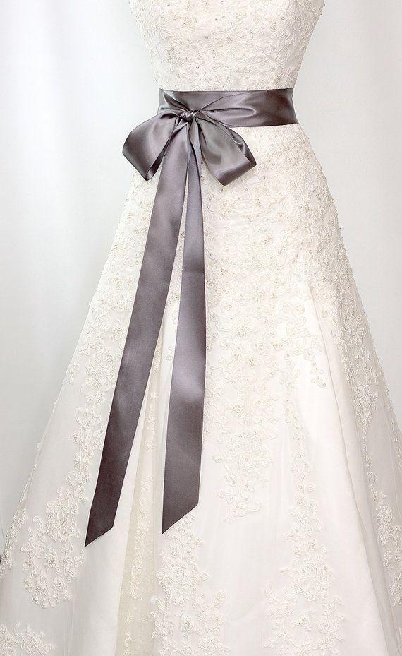 Bridal Sash - Romantic Luxe Satin Ribbon Sash - Wedding Sashes - Deep Graphite Gray - 2.25 in - Bridal Belt on Etsy, $24.00