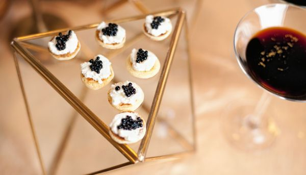 Oscars Party Perfect!! Cecci Bean Blinis with Fresh Ricotta and Balsamic Caviar.