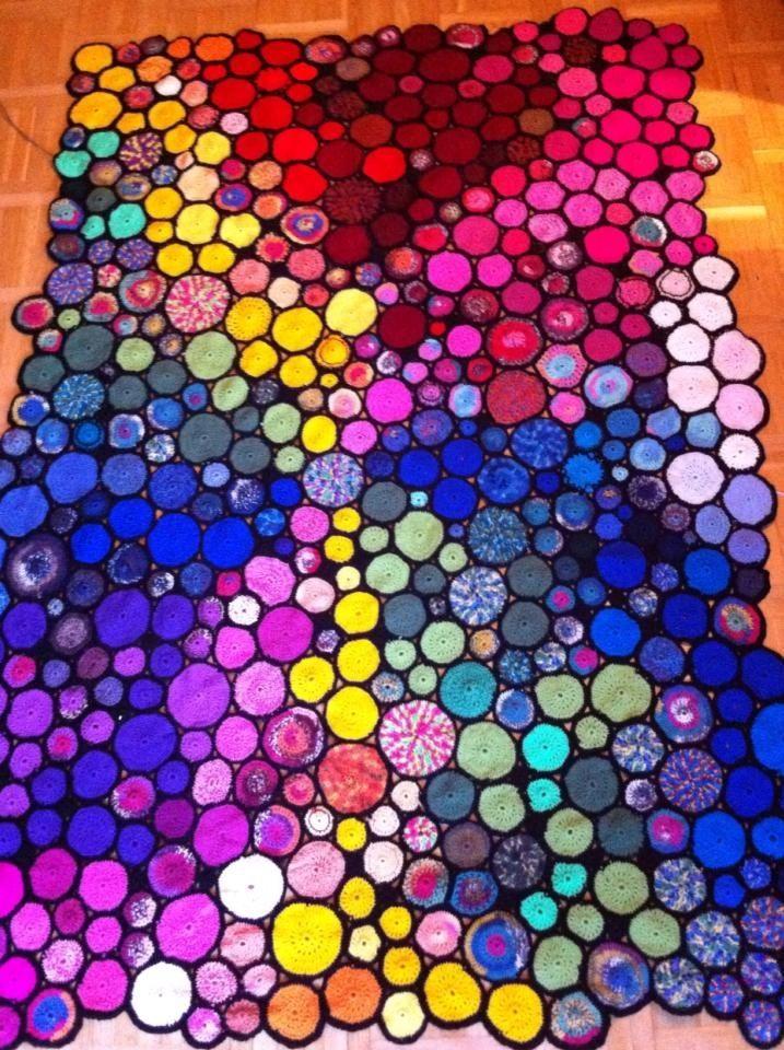 Beautifully crocheted circle blanket