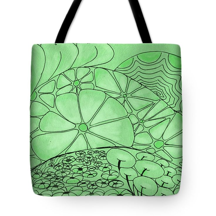"Green Zentangle Tote Bag 18"" x 18"""