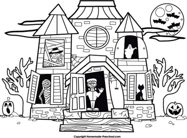 25 Awesome Image Of Haunted House Coloring Pages House