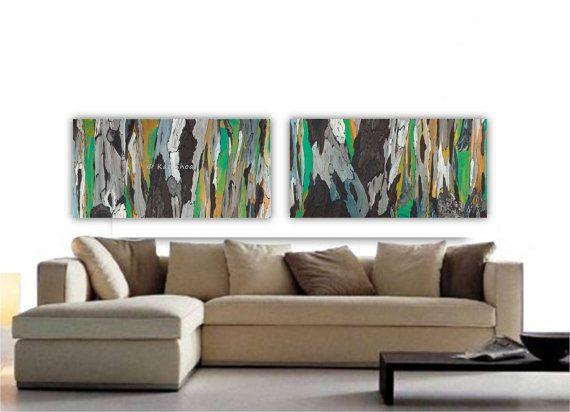 Green Artwork Oversized VERY LARGE Wall Art Set Tree Trunks Fine Art Print  Brown Yellow Canvas