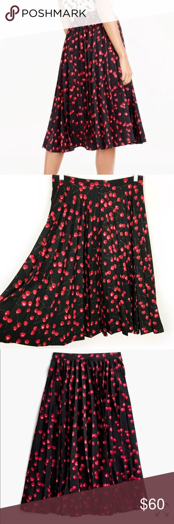 """J Crew 4 Pleated midi skirt in cherry print The secret to this flattering skirt? Its sunburst-style pleats, which lie flat at the waist for a clean, streamlined effect. We crafted this version in a playful cherry print that we developed in-house and sprinkled throughout our women's collection. A couple things we like about it: the sophisticated colors and the fact that, from far away, it kinda looks like a fun polka dot.  Poly. Back zip. Lined.  Size 4 measures approx 14.5"""" waist 24.5"""" long…"""