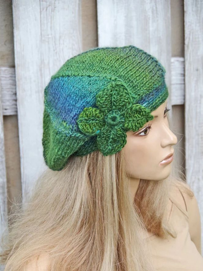 Knit Hat Womens Hat Green Slouchy Beanie Green Knit Hat  by Degra2