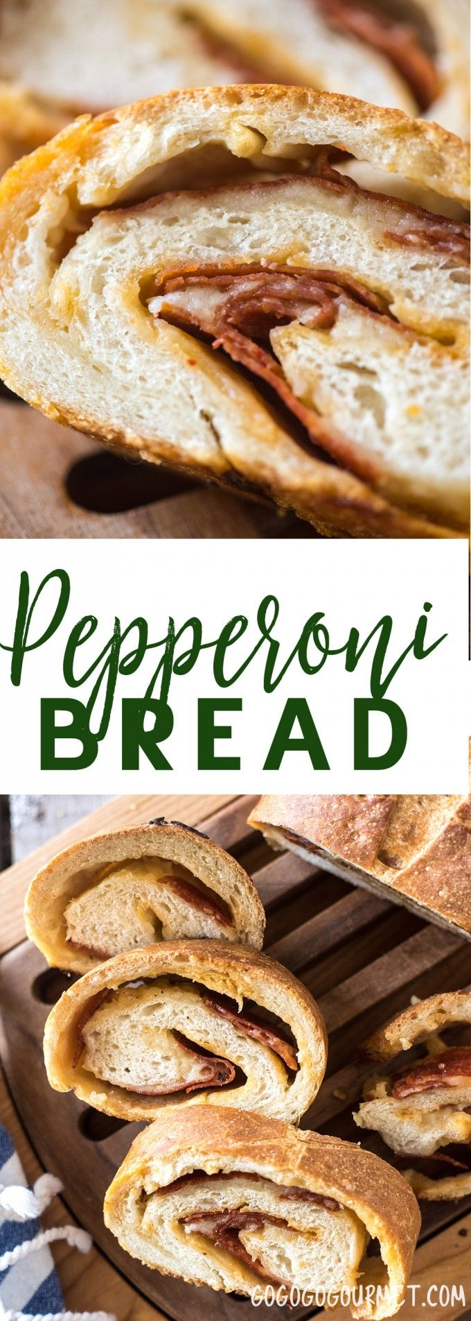 This Pepperoni Bread is a loaf of crusty outside and soft inside Italian bread stuffed with layers of pepperoni and cheese. |  via @gogogogourmet