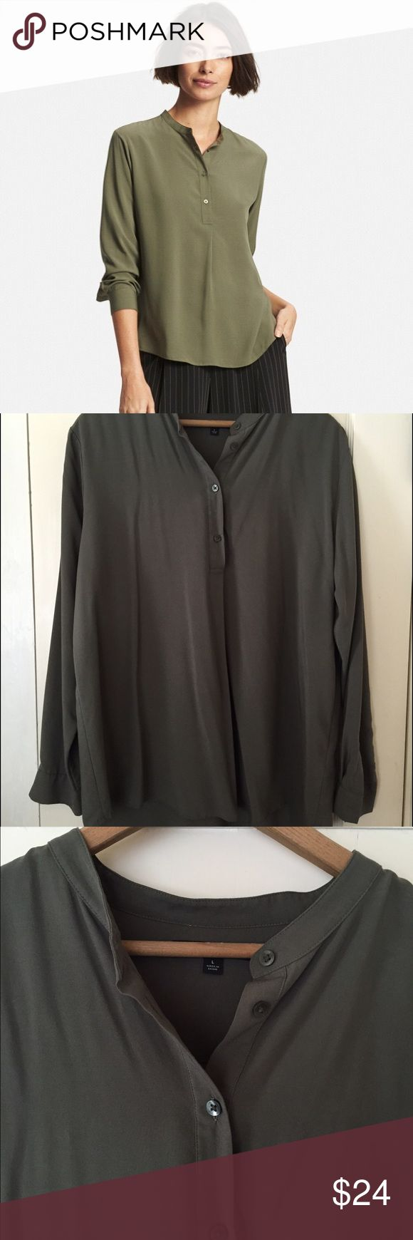 Uniqlo Rayon Stand Collar Longsleeve Blouse Green Collarless rayon blouse by Uniqlo. Soft olive green color. Size large. Gently worn. Super soft and flattering. Uniqlo Tops Blouses