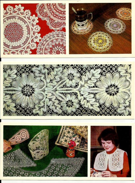 Russian Lace Vintage Postcards set of 18 Traditional by LucyMarket