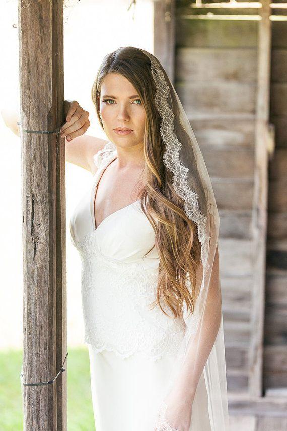 Wedding Veil French Chantilly Lace Mantilla Waltz Length Bridal
