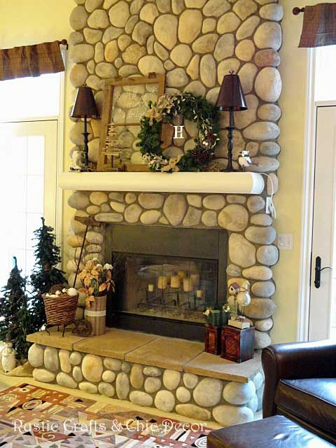 christmas fireplace by rustic-crafts.com | DIY Home Decor | Pinterest | Rustic crafts, Mantle ...