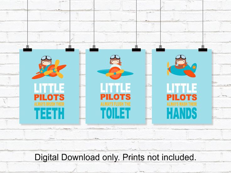 Little Pilots bathroom Wall Decor, Airplanes Wall Decor, Kids Bathroom Wall Art, Airplanes Bathroom decor, Set of 3, 8x10, INSTANT DOWNLOAD by myfavoritedecor on Etsy https://www.etsy.com/listing/269391326/little-pilots-bathroom-wall-decor