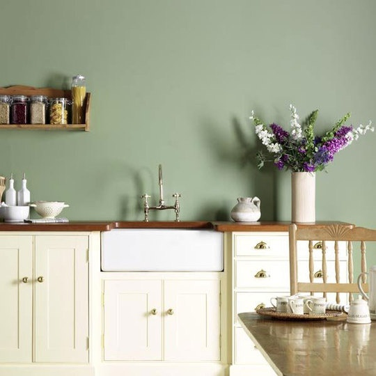 green and white kitchen.  this wall color is the most similar to ours, the way the lighting is, the color has a but of an aquaness to it.