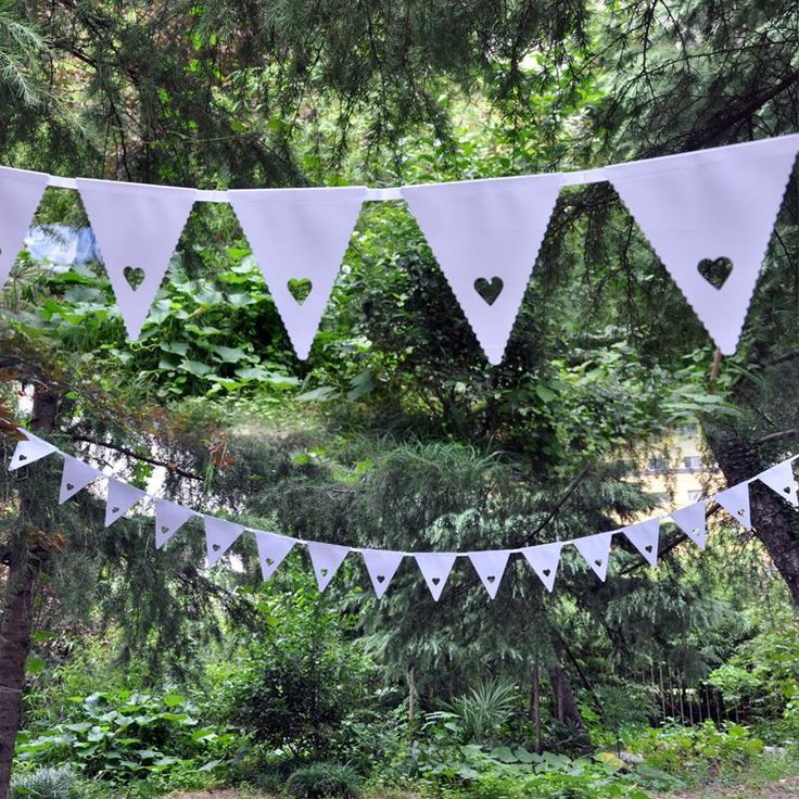 Wedding venue set-up and furnishing of hollow out small wedding love the white flag pennant banner 5,50