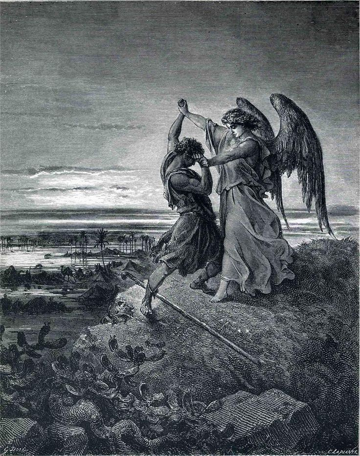 Jacob Wrestling with the Angel (B & W 1866) - Gustave Dore