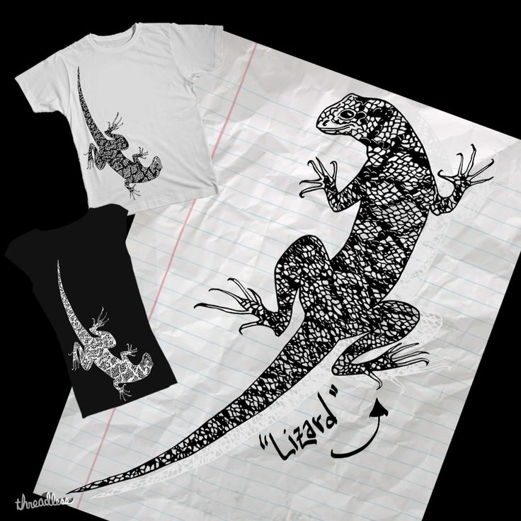Lizard by Patricio Vargas. Be kind and score my design on threadless! Share with your friends! https://www.threadless.com/designs/lizard-6