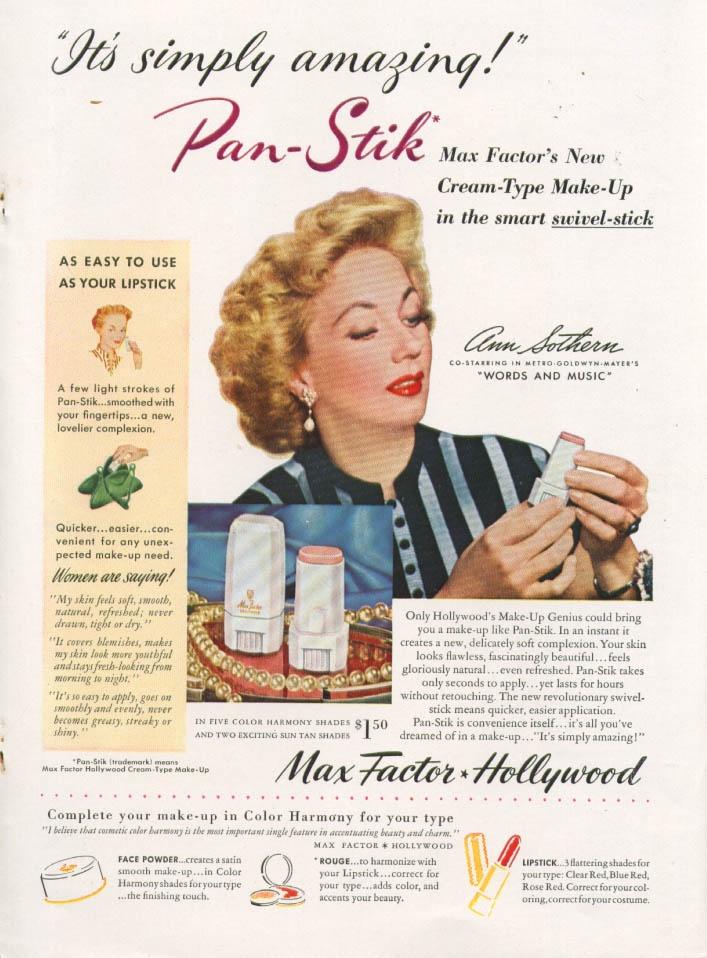 Ann Sothern uses Max Factor Pan-Stik Make-Up in 1948