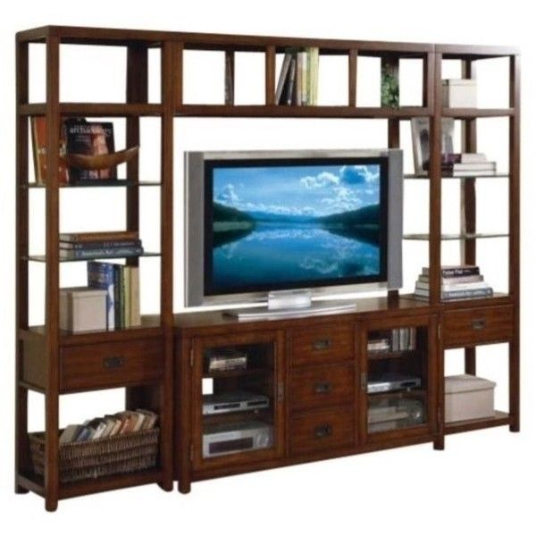 Hooker Furniture Danforth Entertainment Center ($2,869) ❤ liked on Polyvore featuring home, furniture, storage & shelves, entertainment units, dvd tower, storage furniture, tower, computer credenza and drawer tower