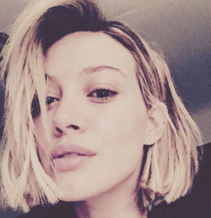 Hilary Duff goes for a short and sharp chop.