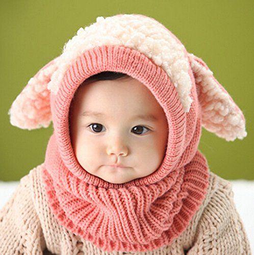 Dealzip Inc®Pink Super Cute Puppy Design Unisex Baby Infant Winter Warm Knitted Hooded Scarf Neck Warmer Hat Cap Shawls+Random gift