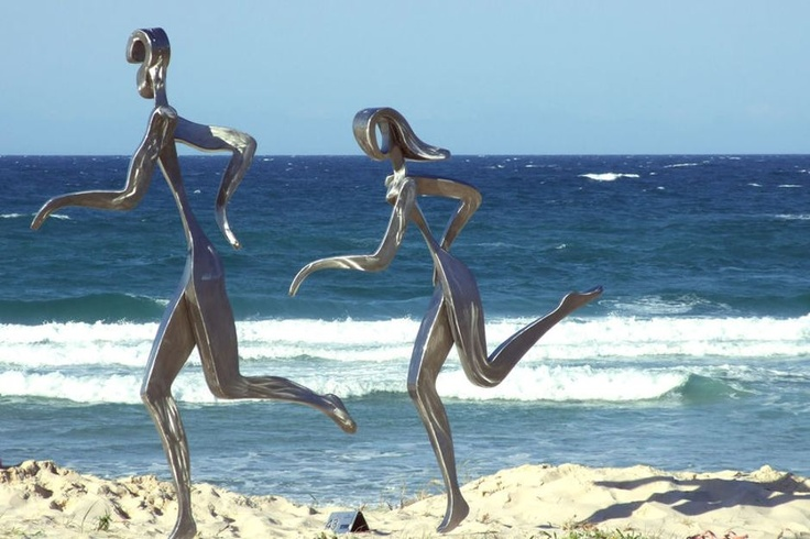 An exhibit at the Swell Sculpture Festival sits in the sand on Currumbin Beach  www.swellsculpture.com.au