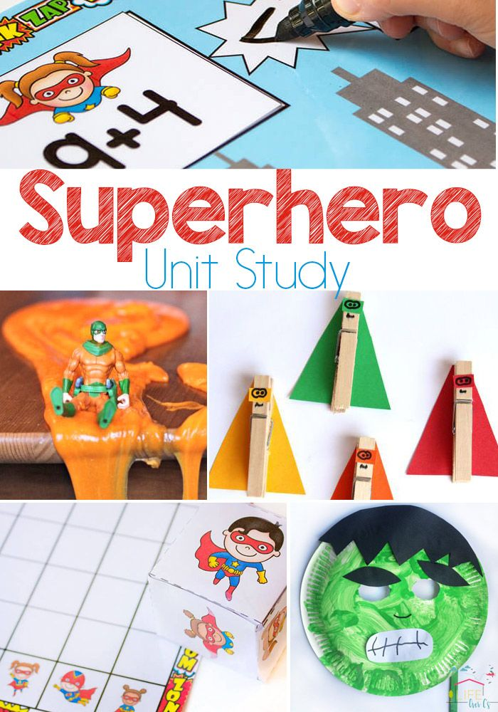 Create an amazing superhero unit study for your kids! Math, science, literacy, sensory activities for kids and more! via @lifeovercs
