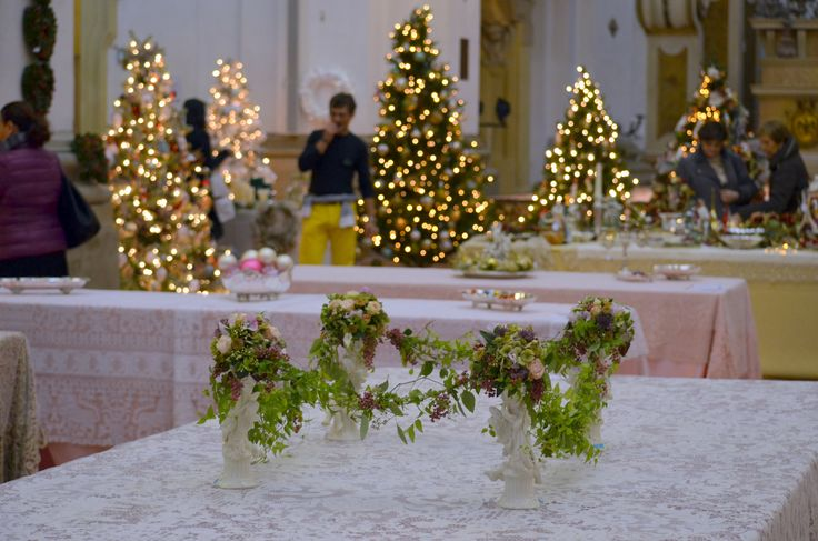 Christmas trees and antique tableclothes