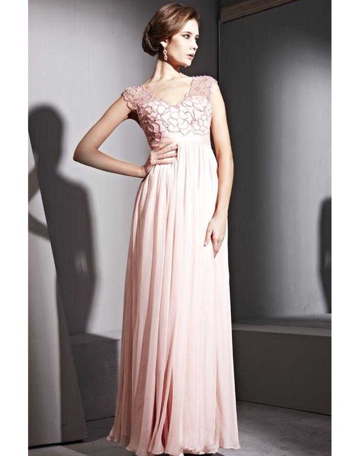 Tencel V-Neck Beading Ruching Pleats Empire A-Line Evening Dress Model: EVEND2183
