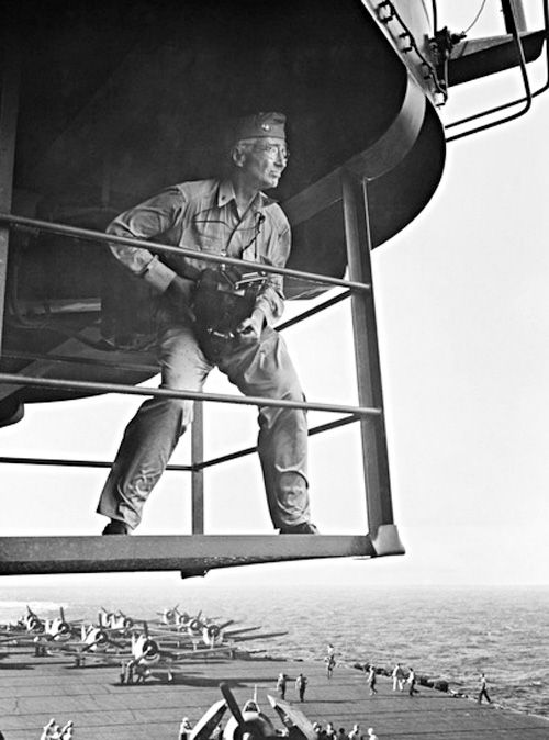 photo of the legend  capt  edward steichen photographed above the deck of uss lexington  cv 16