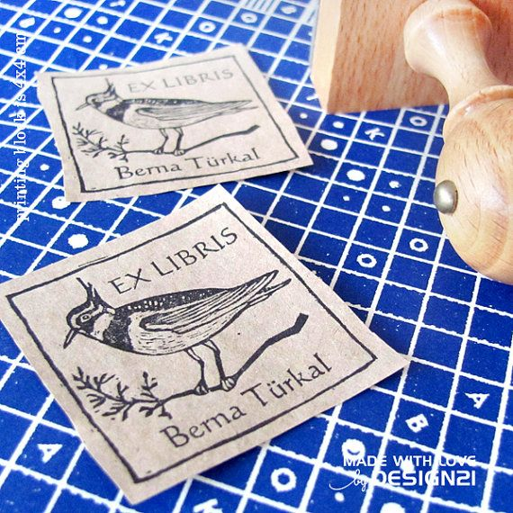 Lapwing: personalised rubber stamp 4x4 cm by lida21 on Etsy