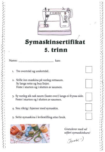 Kunst og handverk med TE: Symaskinsertifikat & forkle