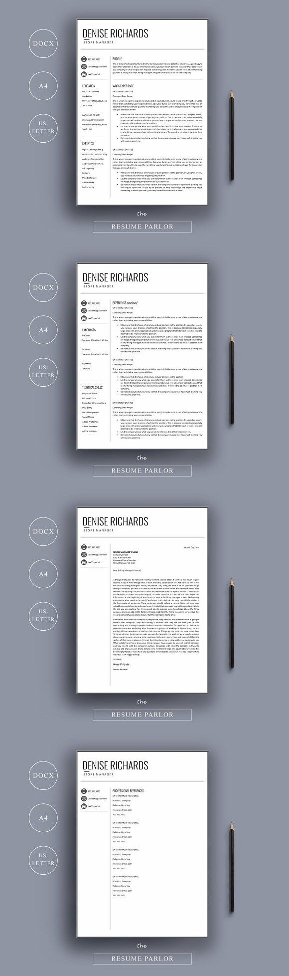 17 best images about resumes resume template resume 4 page a4 us letter sizes