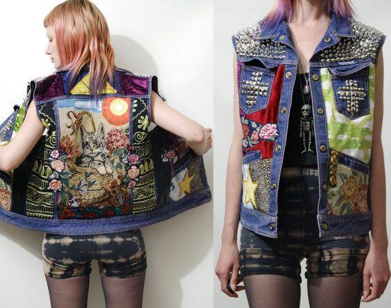 PATCH Studded CAT Jacket DENIM Vest Silver Cross Studs Pyramid Floral Applique Patches Grunge Hippie Punk Leather Tapestry Leopard xs s m l. $320.00, via Etsy.