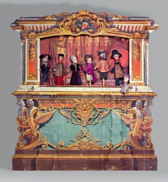 Th tre de guignol th tre de marionnettes complet castelet marionnettes et caisse de - Fabriquer un theatre de marionnettes en bois ...