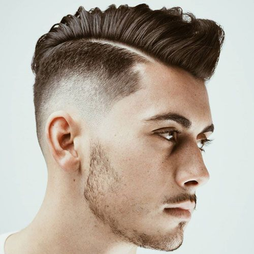 Mid Bald Fade with Textured Comb Over and Beard